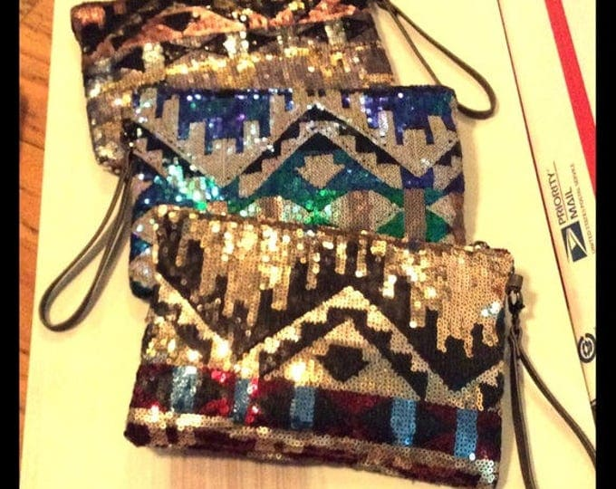 Sequined wristlets zig zag colorful geometric bag