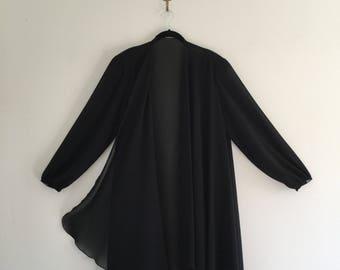 Vintage 80's Sheer Black Cattiva Dramatic Jacket XL