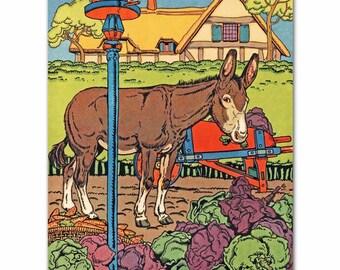 "Farm Nursery Print (Girls Boys Room Art, Baby Wall Decor) ""A Donkey's Tale"" -- Fairy Tale Artwork"