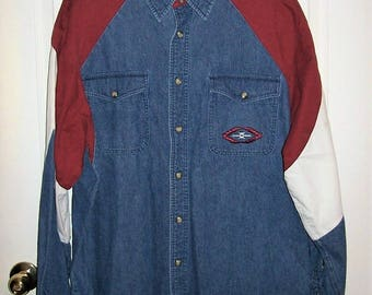 Vintage Men's Blue Jean Denim Pearl Snap Front Rodeo Shirt by Wrangler Western Shirts Large Only 15 USD