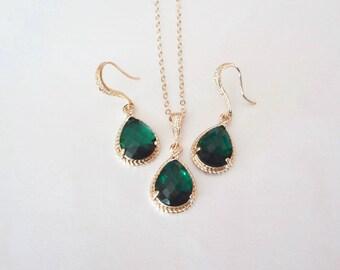 Emerald earrings and necklace set, Czech glass, Gold and emerald jewelry set, Irish jewelry, Bridal jewelry set, Christmas jewelry, Gift