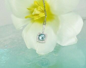 Aquamarine Pendant, Aquamarine Necklace, March Birthstone Pendant, Aquamarine Jewelry, March Birthstone, Aquamarine Halo Pendant, Halo