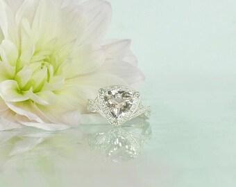 Morganite Ring, Morganite Engagement Ring, Morganite Statement Ring, Pink Morganite Ring, Triangle Ring, Pink Gemstone Ring, Gemstone Ring