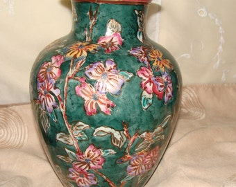Chinese Oriental Vase With Raised Painted Design, Gold Highlites