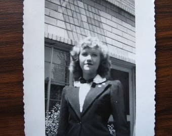 Charlene... 1940's Vintage Photo... Original Vintage Snapshot Photograph