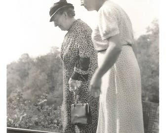 "Vintage Snapshot ""Walking The Tracks"" Elderly Women Railroad Train Tracks Pocketbook Floral Dress Grandmother Found Photo"