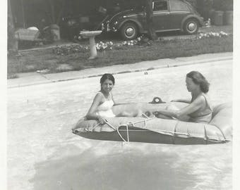 "Vintage Snapshot ""Lazy Days Of Summer"" Pool Float Raft Swimsuits VW Beetle Found Vernacular Photo"