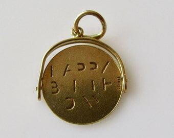 9ct Gold Happy Birthday Spinner Rare Vintage Charm