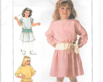 Girls Easy to Sew Pullover Dress 1985 Vintage Sewing Pattern, Skirt Gathered to Yoke, Long and Short Kimono Sleeves, UNCUT Simplicity 7245
