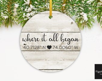 Where It All Began Ornament, Coordinates Ornament, Faux Wood Ornament, Personalized Couples Ornament, Housewarming Gift, Custom Hostess Gift