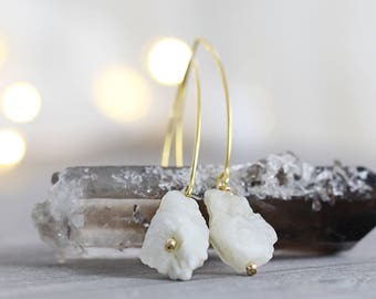 Rough Moonstone Earrings - White Stone Jewelry - Raw Moonstone Earrings - Raw Mineral Jewelry - Rough Stone Earrings - Drop Earrings