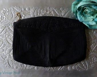 Vintage 1940's Black Corde Clutch, Small Corde Clutch, 40's Corde Bag, Retro, Vintage Clutch