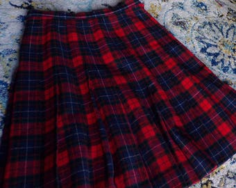 vintage PENDLETON PLAID SKIRT pleated manson tartan S (D7)