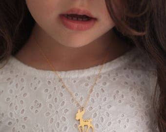 Bambi Necklace in Gold , Fawn Necklace , Woodland Charm, Animal Jewelry  Bambi Charm  Bambi Jewelry, Deer Necklace , Deer Jewelry for Girls