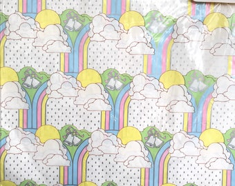 Bridal Shower Gift Wrap Retro Wrapping Paper Metallic Rainbow Wedding Gift Wrap Paper 80's Hallmark Flat Collectible Gift Wrapping Paper