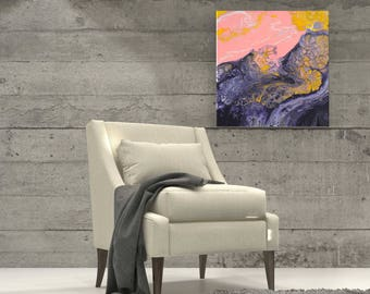Pink & Navy Blue Painting - Pink and Blue Original Abstract Expressionist Fluid Painting in Pink, Royal Blue, White, and Gold Admiral Blue