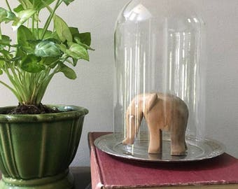"""Vintage Glass Dome Upon Silver Base / Cloche Dome / 7"""" Display Dome"""
