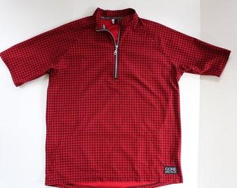 Vintage Cycling top tshirt - retro - bicycle biking cyclist -shirt sports top- red plaid check squares grid-zip collar pockets- Large XL 44