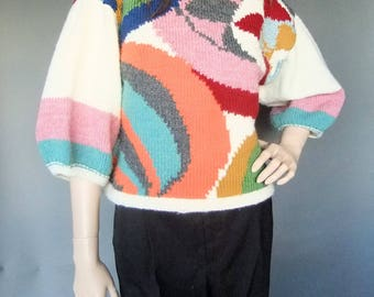 handknit sweater, colorful sweater, fall sweater, boxy sweater, vintage sweater, oversized sweater
