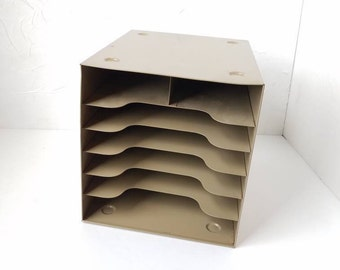 metal buddy paper sorter file box stackable office mid century industrial
