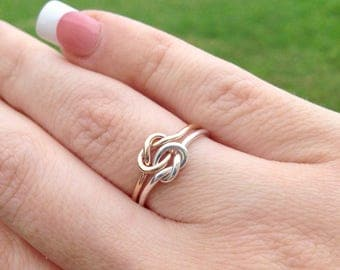 Double Knot Ring, Gold Filled Ring, Two Toned Ring, Gifts For Her, Two Love Knots, Knot Promise Ring, Love Knot Ring, Gift For Her