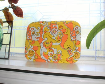1960s Metal Serving Tray Hippy Mid Century Mod Orange White Yellow Flowers
