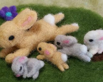 Felted Bunny Family on a Grass Patch, Baby Bunnies, Handmade Felted Bunnies, Easter Bunny, Easter Gift, Waldorf Inspired, Woodland Animals