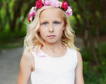 Pink floral flower girl or bridesmaid headband floral headband flower headband
