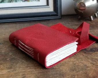 Leather Journal, Red Hand-Bound 3 x 4.5 Journal by The Orange Windmill on Etsy 1839
