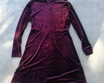 Ladies purple 90s crushed velvet babydoll dress