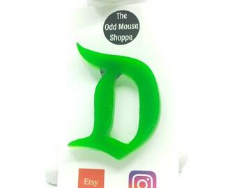 Classic D Green Brooch