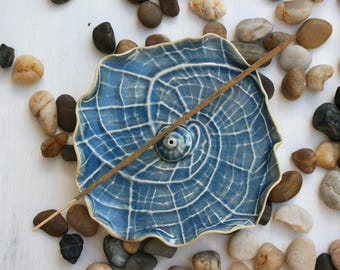 incense burner, nautilus shell, incense holder, stick incense tray, beach house decor, home fragrance, aromatherapy, dark blue, seconds sale