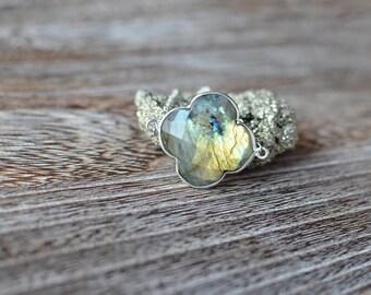 Labradorite Clover Pendant Necklace