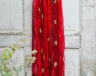 Dreamcatcher, Bohemian Home Decor, Red, Boho Chic, Wedding Gift, Buddha, Wall Hanging, Nursery Mobile, India, Sari Silk, Dream Catcher,