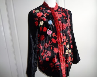 Vintage Black and Red Velvet Floral Jacket with machine embroidered floral design  in Very Good Condition, Made in India in the 1990's