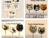 Cat Pins, Decorative Cat Pins, Embellished Scrapbook Pins, Novelty Pins, Quilting Pins, Sewing Pins, Hat Pins Set of 3  YOUR CHOICE