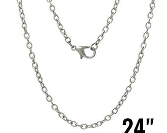 "24 Antique Silver Necklaces - WHOLESALE - 24"" - 3.5x2.5mm Cable Chains - Ships IMMEDIATELY from California - CH453b"