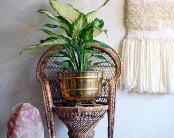 Small Rattan Chair - Plant Stand, Doll Furniture, Boho, Woven, Natural