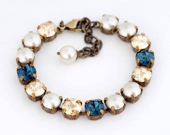Cream Swarovski Crystal Pearl Bracelet, Navy Blue Crystal Jewelry, Blue Rhinestone Bracelet, Cream Pearl Jewelry, Something Blue, Eiric
