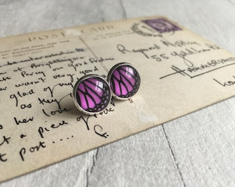 Purple butterfly wing earrings, purple butterflies, gifts for her, christmas in july, stud earrings, pretty earrings uk, gifts for mum uk,