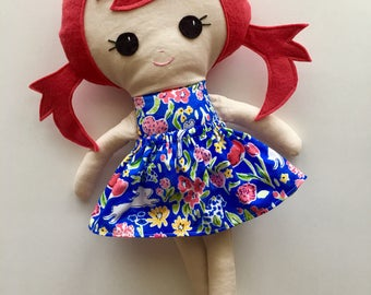 "Ready To Ship Handmade Doll - 18"" Handmade Girl Doll - Girl Doll - Red Head Doll - Birthday Gift"