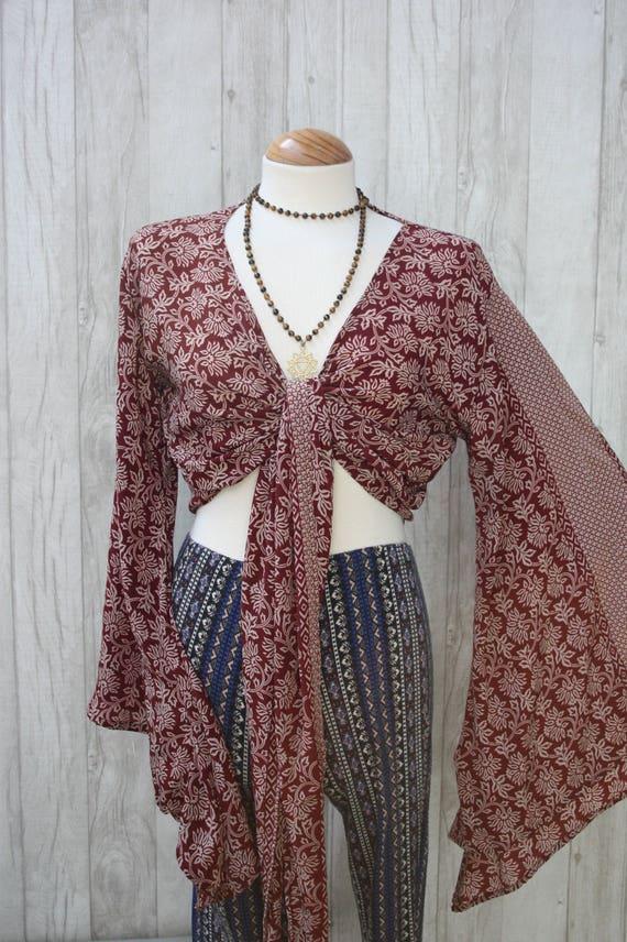 FLORAL PAISLEY TOP - Bell sleeve crop top- Silk Crop Top- Vintage- Festival Top- Hippie- Retro- 70s- Crop Top- 100% Silk- Couture