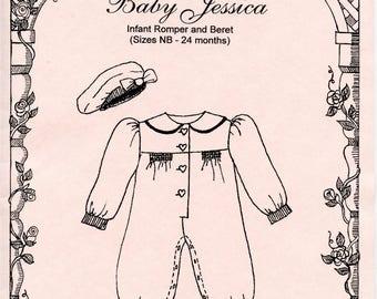Romper Pattern / Long bubble pattern / Smocked Pattern / Beret / Snap Crotch / Baby Jessica / by Primrose Lane