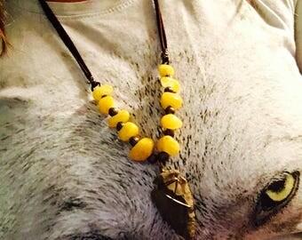 Agate arrowhead adjustable leather lace beaded necklace boho