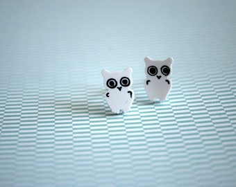Tiny Owl Earrings -- Studs, Black and White Owls