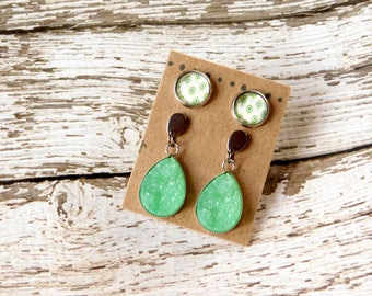 Peacock Green Earring Set - Studs and Druzy Drops