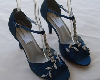 Blue Wedding Shoes Navy Blue with Silver Swarovski Crystals, peep toe, covered heel ankle strap, hand dyed satin, bling , satin heels