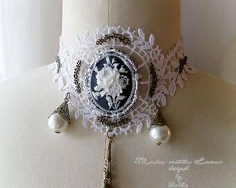 Steampunk Choker Necklace , White Lace Collar Jabot Cameo Neckpiece pearl victorian Goth Gothic Jewelry Handmade  Lolita