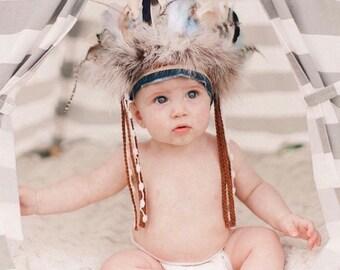Little Chief Infant/toddler boys Headdress - Indian Headdress - Indian Party - Wild One - Indian Costume - Feather Headdress.