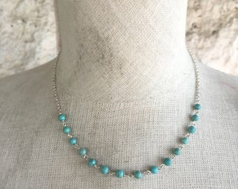 Vintage Turquoise Necklace Southwestern Beaded Necklace 90s Boho Necklace Southwestern Jewelry in Sterling Silver 925